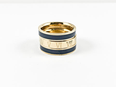 Modern 3 Piece Stackable Navy Enamel & Roman Numeral Eternity Gold Tone Band Steel Ring