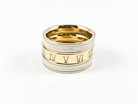 Modern 3 Piece Stackable White Enamel & Roman Numeral Eternity Gold Tone Band Steel Ring