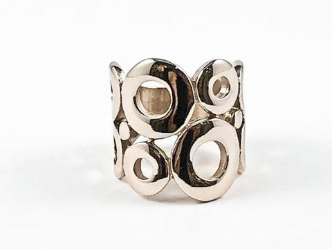Modern Unique Circle Pattern Rose Gold Design Steel Ring