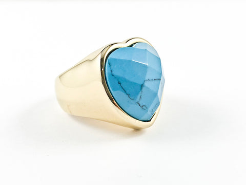 Modern Large Heart Shape Center Turquoise Stone Yellow Gold Steel Ring
