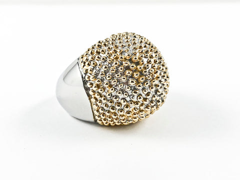 Large Round Dome Shape With Spike Gold Tone Beads Steel Ring