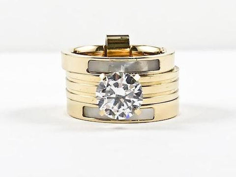 Elegant Engagement Style Stackable Connected Set Mother Of Pearl CZ Steel Ring