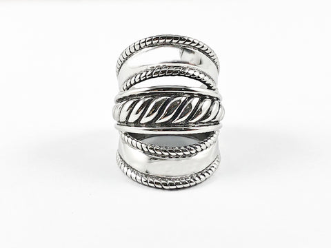 Modern Long Band 3 Level Design Steel Ring