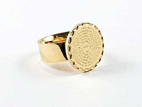 Round Religious Spanish Padre Nuestro Prayer Gold Tone Steel Ring