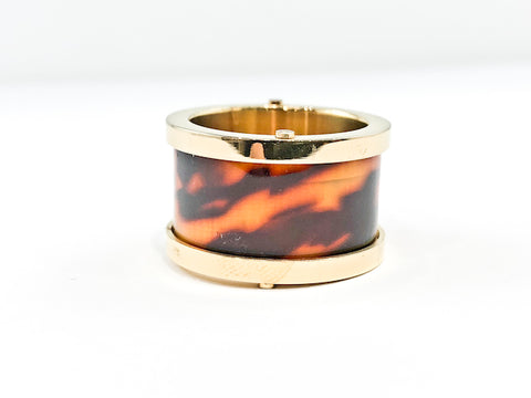 Modern Middle Tortoise Shell Stone Eternity Gold Tone Steel Ring