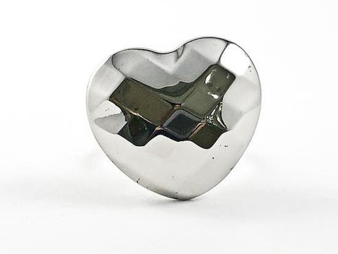Modern Large Hammered Style Heart Design Steel Ring