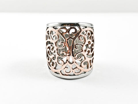 Elegant Filigree Butterfly Design Style Tall Two Tone Steel Ring