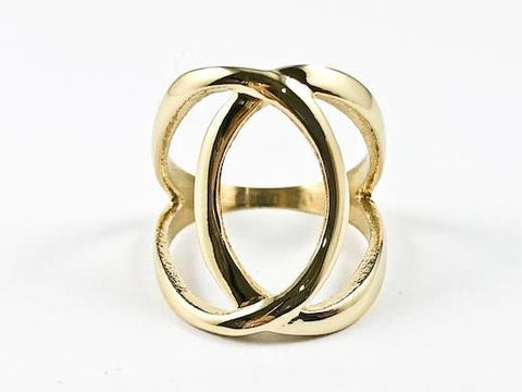 Elegant Overlap Cross Open Works Design Gold Tone Steel Ring