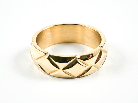 Nice Diamond Shape Accents Shiny Metallic Eternity Gold Tone Steel Ring