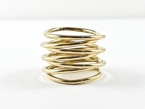Modern Coil Twist Design Gold Tone Steel Ring