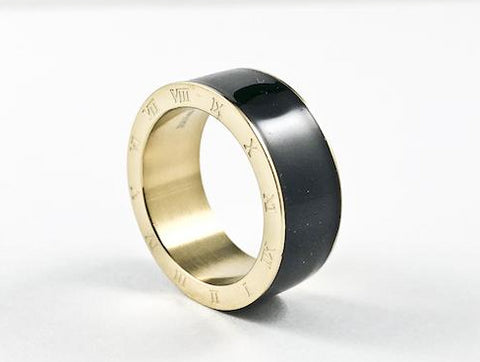 Modern Roman Numeral Border Black Enamel Steel Ring