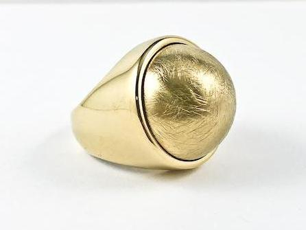 Unique Textured Matte Ball  Gold Tone Steel Ring