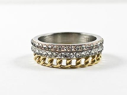 Unique 3 Level Design Link & Eternity Band Tri Color Steel Ring