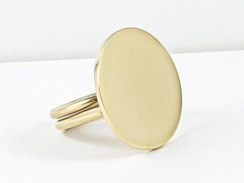 Modern Large Flat Round Shiny Metallic Gold Tone Steel Ring