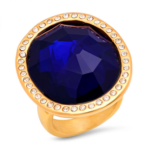 Fancy Large Oval Cut Sapphire Color Center CZ Gold Tone Steel Ring