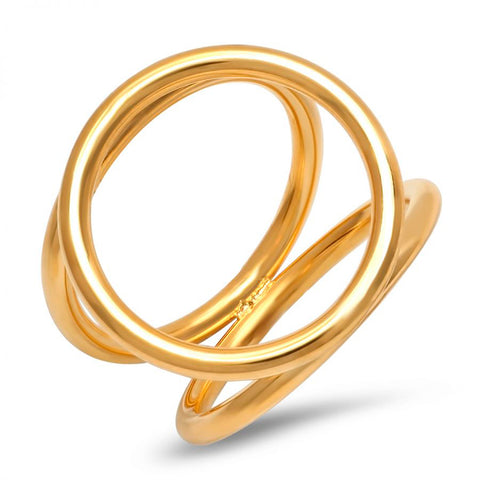 Modern Tri-Circle Statement Gold Tone Steel Ring