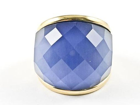 Elegant Large Fine Cute Center Blue CZ Wrap Steel Ring