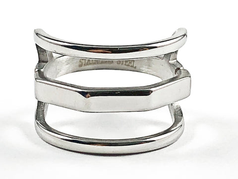 Unique Modern Open Multi Row Metallic Style Design Steel Ring