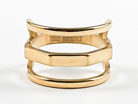 Unique Modern Open Multi Row Metallic Style Gold Tone Design Steel Ring