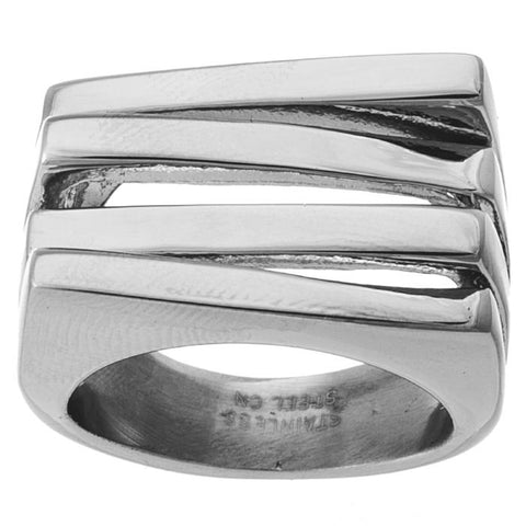 Unique Modern Geometric Layered Line Design Steel Ring