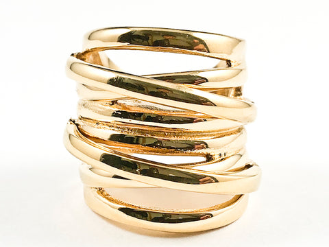 Modern Shiny Metallic Thick Crossover Design Style Gold Tone Steel Ring