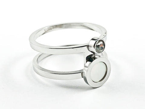 Modern Open Style With Mother Of Pearl & Bezel CZ Steel Ring