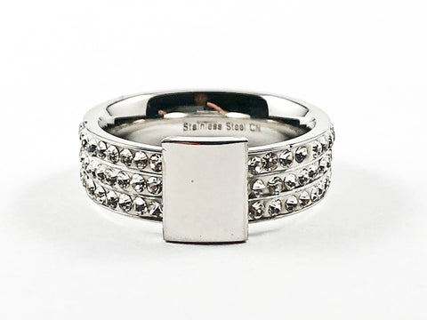 Nice Multi Row Crystal Setting Band With Center Rectangle Shiny Metallic Steel Ring
