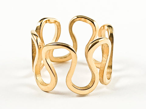Unique Wavy & Curve Shape Form Design Pattern Eternity Gold Tone Steel Ring