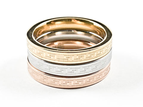 Beautiful Tri Color 3 Piece Set Greek Design Accents Eternity Steel Ring