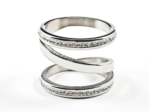 Beautiful Unique Spiral Shape Form With Crystals Silver Tone Steel Ring