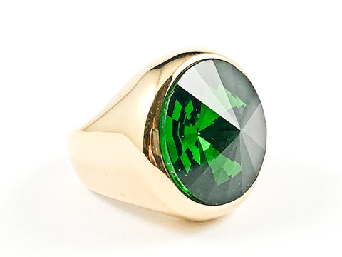 Nice Sharp Round Cut Center Green Color CZ Gold Tone Steel Ring