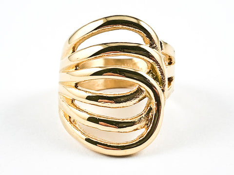Modern Layered Crossover Geometric Design Shiny Metallic Gold Tone Steel Ring