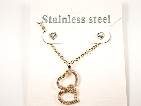 Beautiful Double Hearts Dangling Charm Gold Tone Earring Necklace Steel Set