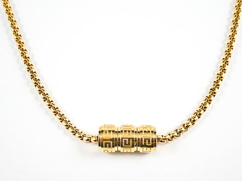 Modern 3 Wheel Slide Greek Design Gold Plated Steel Necklace