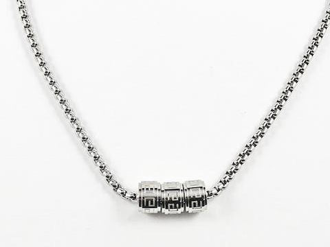 Modern 3 Wheel Slide Greek Design Steel Necklace