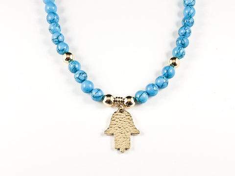 Elegant Turquoise Bead Hamsa Steel Necklace