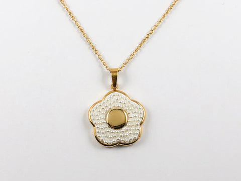 Elegant Floral Mini Pearl Gold Plated Steel Necklace