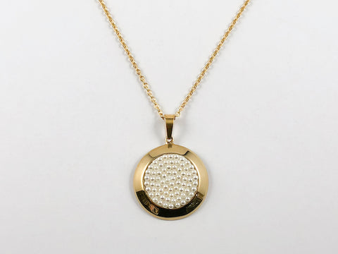 Classic Round Pearl Disk Gold Plated Steel Necklace