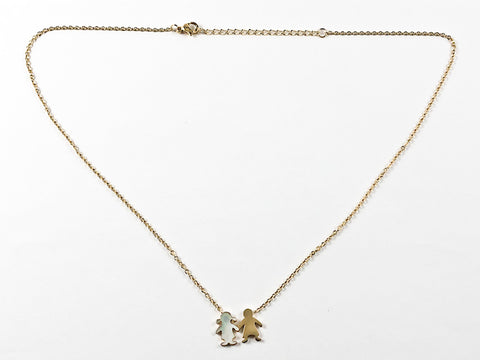 Casual Elegant Boy & Girl Gold Plated Steel Necklace