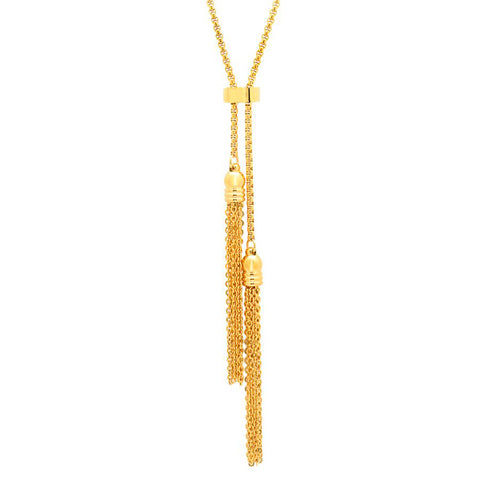 Modern Double Tassel Gold Tone Steel Necklace