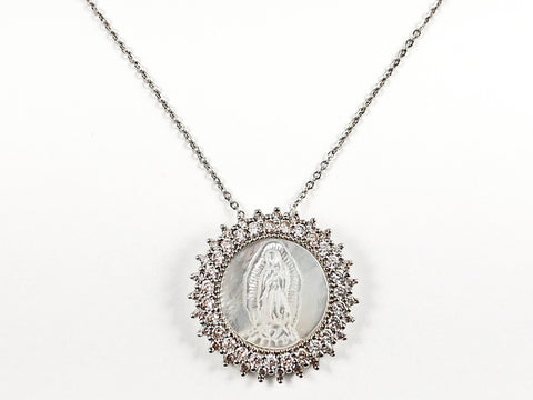 Beautiful Round Shape Religious St. Mary Mother Of Pearl CZ Pendant Steel Necklace