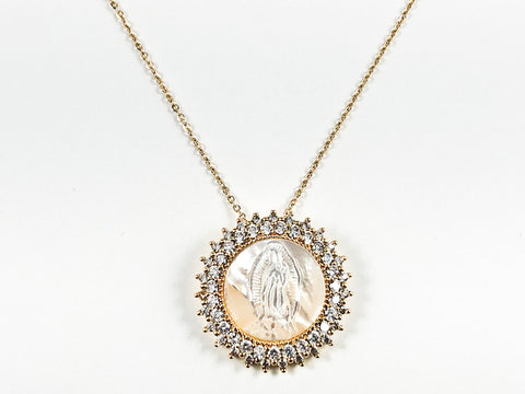 Beautiful Round Shape Religious St. Mary Mother Of Pearl CZ Pendant Gold Tone Steel Necklace