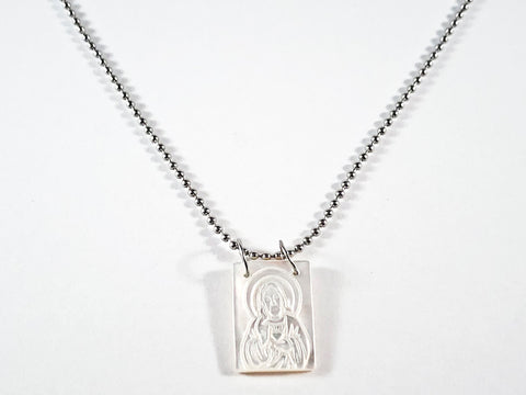 Unique Religious Carved Mother Of Pearl Stone Steel Necklace