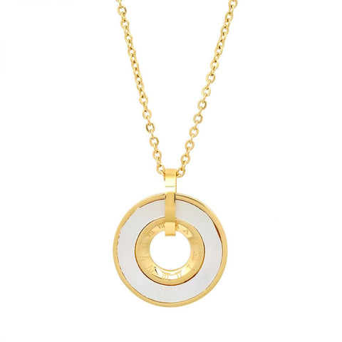 Beautiful Circle With Mother Of Pearl & Roman Numerals Design Gold Tone Steel Necklace