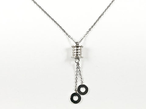 Nice Dainty Shiny Metallic Cylinder With Dangling Circular Disc Silver Tone Steel Necklace