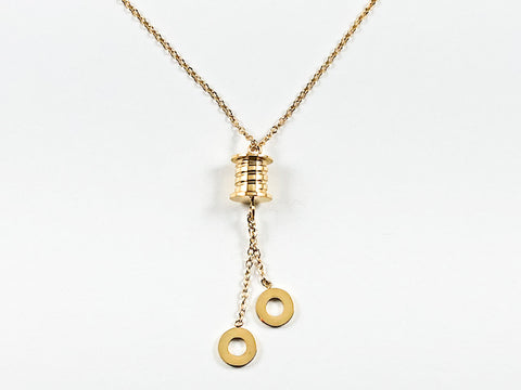 Nice Dainty Shiny Metallic Cylinder With Dangling Circular Disc Gold Tone Steel Necklace