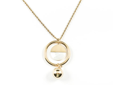 Beautiful Unique Large Round Shiny Metallic With Mother Of Pearl Pendulum Design Gold Tone Long Steel Necklace