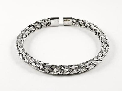 Modern Wire Textured Weave Silver Tone Steel Bangle