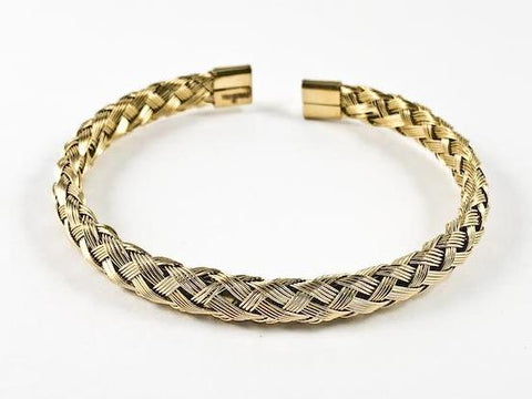 Modern Wire Textured Weave Gold Tone Steel Bangle