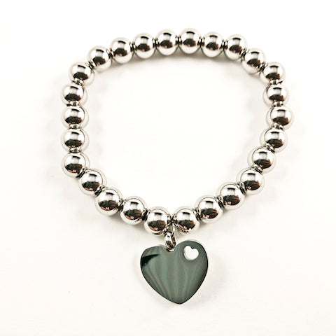 Nice Shiny Metallic Heart Charm & Ball Beads Stretch Steel Bracelet
